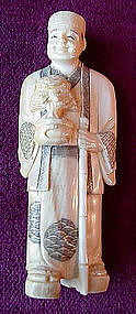 JAPAN IVORY CARVING MAN HOLDING BONSAI TREE