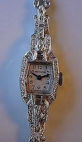 LADIES PLATINUM DIAMONDS WRISTWATCH WASH. D.C. ESTATE