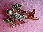 STERLING COROCRAFT ENAMEL BIRD ON BRANCH PIN