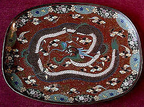 ANTIQUE JAPANESE CLOISONNE TRAY } DRAGON & GOLDSTONE