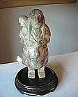 CHRYSACOLA CARVED FIGURINE {  Mother & Child