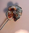 ENAMEL AND DIAMOND FLOWER STICKPIN WITH DIAMOND