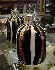 ART GLASS PERFUME BOTTLE BLACK WHITE AND GOLDSTONE