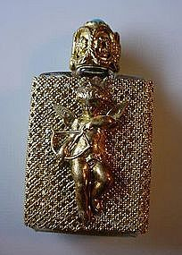 CUPID EXTERIOR BRASS FILIGREE & GLASS PERFUME BOTTLE