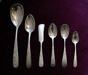 6 PIECES KIRK MAYFLOWER COIN SILVER FLATWARE ....RARE