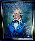 ANTIQUE OIL PORTRAIT OF A GENTLEMAN SIGNED R. DAVIS
