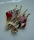 STERING ABCD Allied Flags WW2 Patriotic Pin CORO CRAFT