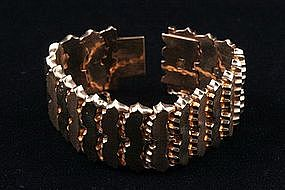 18K RETRO BRACELET WEIGHTY ROSE GOLD CIRCA 1950