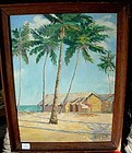PALM TREES AND COTTAGE PAINTING Ca. 1925- 1950 O/C