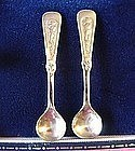 14K GOLDEN CHERUB SALT SPOONS{14K Solid Gold