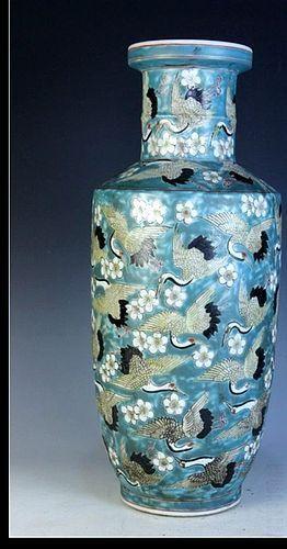 Chinese Thousand Cranes Vase Kang Hsi Mark Ca 1850 1875 Item