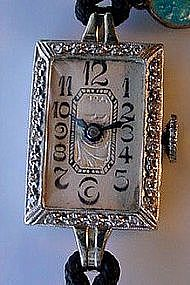 BEAUTIFUL LADIES ART DECO PLATINUM DIAMONDS WRIST WATCH