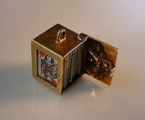 14K QUEEN OF HEARTS AND DECK OF CARDS CHARM