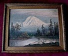 OIL ON CANVAS MOUNTAIN AND FOREST BY MRS. POND