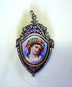 ANTIQUE GOLD GEORGIAN DIAMONDS & ENAMEL PICTURE BROOCH