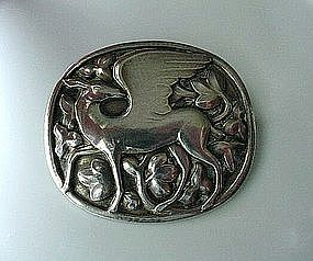 BEAUTIFUL GEORG JENSEN BROOCH ...  WINGED DEER  1933-44