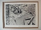 NY WASHINGTON SQUARE ETCHING {P.BERDANIER