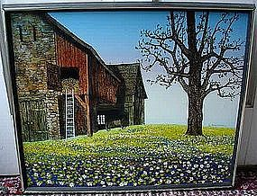 H. HARGROVE OIL ON CANVAS FARM SCENE & FLOWERS...LISTED