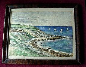 EDMOND DARCH LEWIS 1887 WC SHORE & SAILBOATS..  LISTED