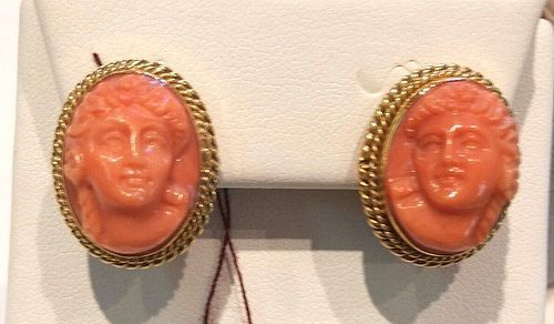 RARE PAIR 18K & CORAL EARRINGS MUST SEE