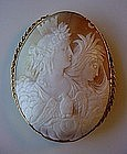 BEAUTIFUL LARGE ANTIQUE CAMEO DIANA & NYX 14K FRAME
