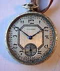 ART DECO OPENFACE ILLINOIS 17 JEWEL POCKET WATCH