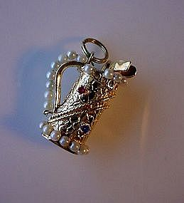 OUTSTANDING 14K GOLD GOLF BAG CHARM wGENUINE PEARLS