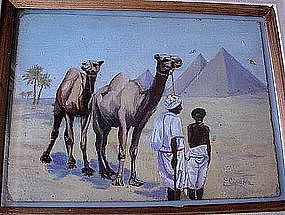 PAINTING OIL ON BOARD ARABS & PYRAMIDS F.CIPOLLA LISTED
