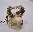 FINELY CARVED IVORY 2 HORSES NETSUKE