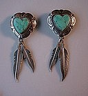 STER HEART FEATHERS & TURQUOISE NATIVE AMERICAN ER