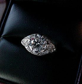 BEAUTIFUL PLATINUM DIAMOND ENGAGEMENT RING 1.50 CENTER