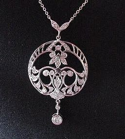 PLAT FILIGREE & DIAMOND NECKLACE