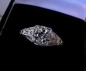 CLASSIC PLATINUM DIAMOND ENGAGEMENT RING .78 CARAT