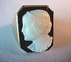 Gent's HARDSTONE CAMEO RING { Carved ONYX