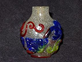 Qing Dynasty - Pair of Qilong Motif Glass Snuff Bottle