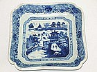 Qing Dynasty - Blue and White Export Square Plate