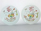 Early Republic  –  Pair of Lotus Flower Painting Saucer