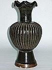Song - Jin Dynasty: Black Glazed Ribbed Vase