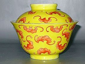 Qing Dynasty - Famille Jaune Bat Motive Tea Cup