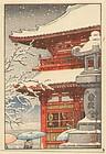 Kawase Hasui - Woodblock - Rare Temple in Snow