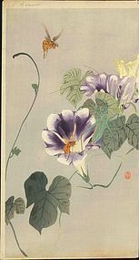 Ohara Koson Woodblock Print - Praying Mantis / Bees
