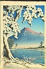 Hasui Kawase Woodblock Print - Mt. Fuji after Snow