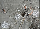 Chinese  Silk Panel with Embroidered Birds and Flowers