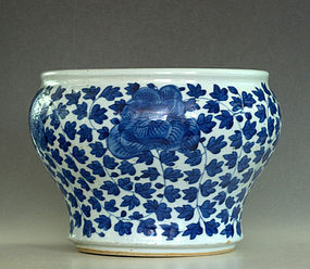 Chinese Blue and White Fish Bowl, Qing Dynasty