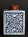 Rare 18th Century Molded Blue and White Bottle