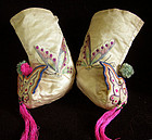 Antique Chinese Embroidered Silk Baby Booties