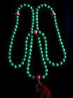 Tibetan Prayer Beads Malachite with Coral counters