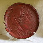 Japanese Kamakura Bori Carved Red Lacquer Serving tray