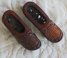 Antique Chinese pair  small hand carved wooden shoes