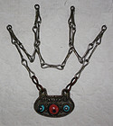 Antique Tibetan Necklace Bronze with coral turquoise